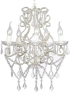 Festnight Lámpara de araña Techo Blanca con 2800 Cristales E14