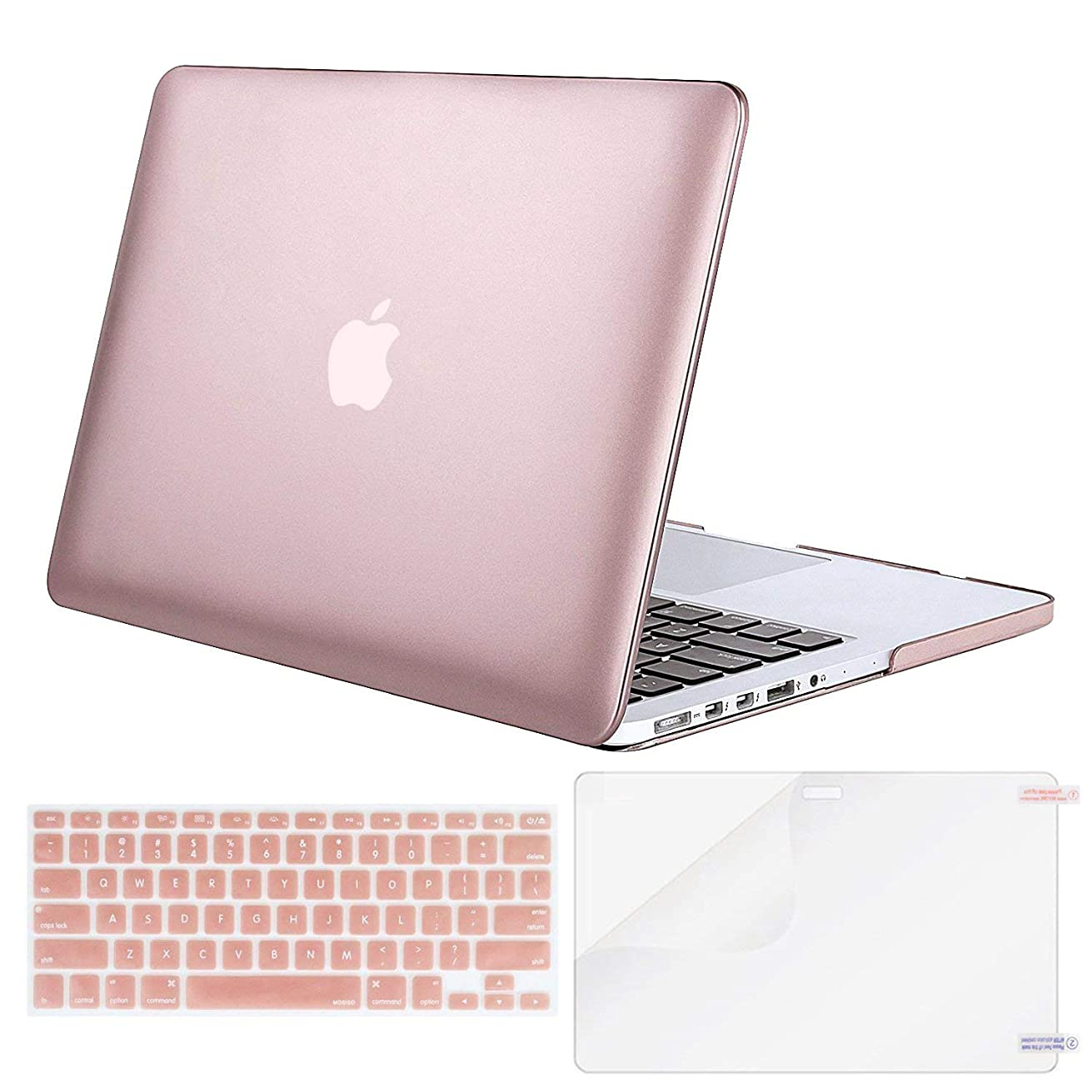 MOSISO Case Only Compatible Older Version MacBook Pro 15 inch Model A1398 with Retina Display (2015 - end 2012 Release), Plastic Hard Shell & Keyboard Cover & Screen Protector, Rose Gold