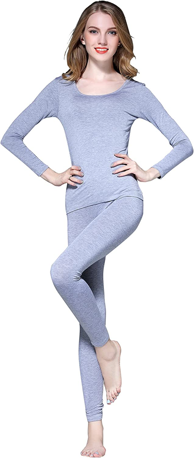 Vinconie Thin Thermal Underwear for Women Long Johns Set Scoop Neck Base Layer