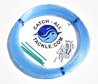 Monofilament Fishing Leader Kit 100yds Light Blue-Loop Protectors crimps