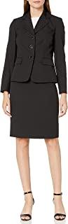 Women's 3 Button Notch Collar Diamond Jacquard Skirt Suit