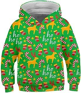 Ocean Plus, Niño Sudadera con Capucha de Navidad Niñas Sudadera de Manga Larga de Navidad Suéter de Navidad