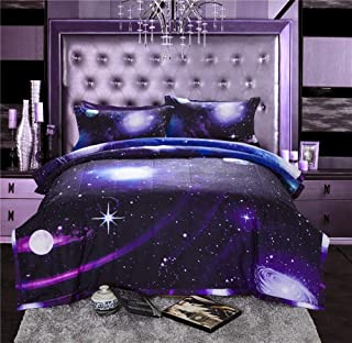 kxry Full Size Comforter Set 3 Pcs Purple Galaxy Soft 3D Printed Reversible Design Outer Space Bedding Sets 1 Comforter, 2 Pillow Shams