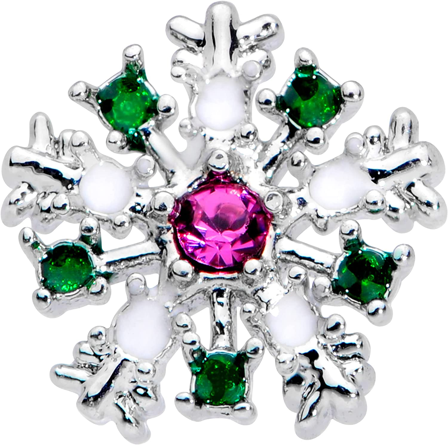 Body Candy Womens 20G Steel Nose Ring Pink Accent Snowflake Nose Stud Nose Bone Body Piercing Jewelry 1/4