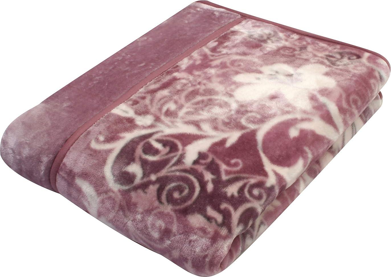 八歩行者ジャグリング西川(Nishikawa) 毛布 ピンク シングル 2枚合わせ 洗える 程よい厚み 衿付き トリコットヘム仕様 2CH5803