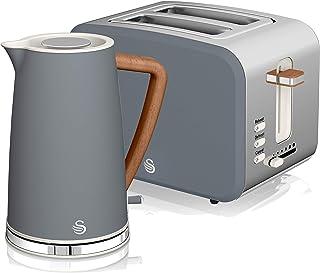 Swan Nordic Set Desayuno Bouilloire sans fil 1,7 L 3000 W Grille-pain à fente large 2 tranches 3 fonctions Design moderne ...