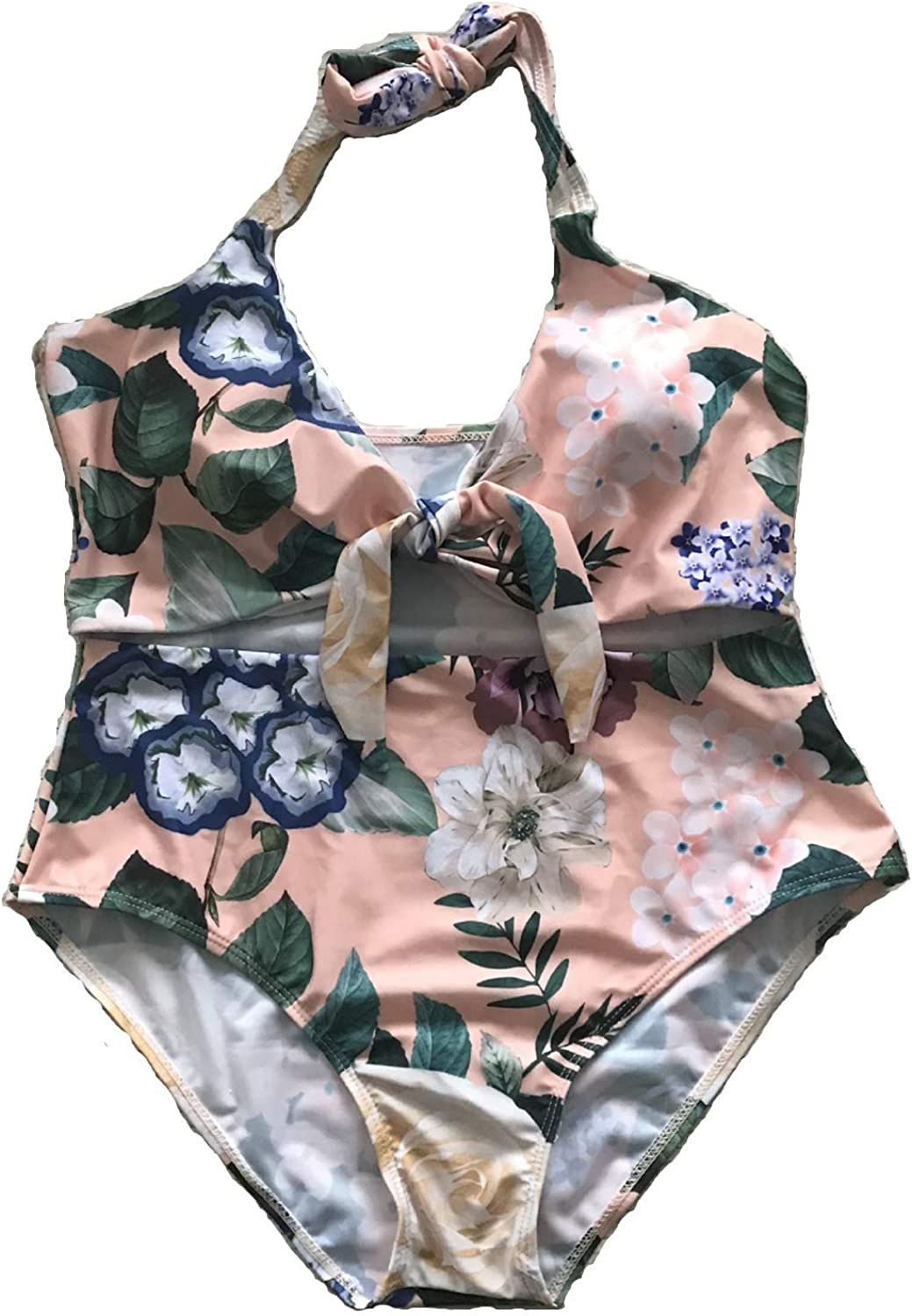 One Piece Floral Print Monokini Tie Knot Front Bikini Bathing Suits Cutout Halter Womens Swimsuits
