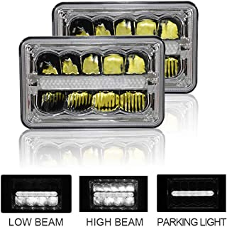 4x6 inch LED headlights High/Low Beam DRL Compatible with Chevy S10 Camaro Blazer H4651 H4652 H4656 H4666 H6545 KW900 Freightliner Ford Mustang RV Dakota Snow Plow Motorhome Lights (2 pack)