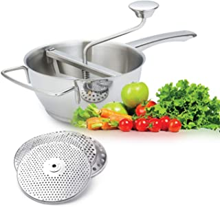 AMOMGard - Pasapurés de acero inoxidable 18/10, 4 filtros, apto para lavavajillas, molinillo, escurridor, para pasear frutas, verduras, sopa, mermelada, salsas