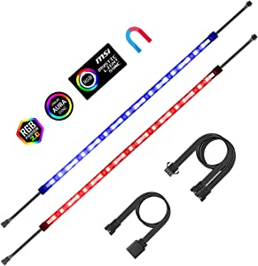 Aclorol RGB LED Strip Lights PC Magnetic LED Light Strip 2pcs 16in for PC Case M/B with 12V 4-pin RGB Headers Compatible with ASUS Aura Gigabyte Fusion MSI Mystic Motherboard 2PCS 42 LEDs