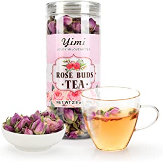 Yimi Organic Rose Buds Tea, Dried Rose Herbal Floral Loose Leaf Herbal Tea, Whole Dry Roses Flower, 2.8 Oz, Holiday Gift