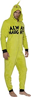 Grinch Mens Always Naughty Christmas Hooded Union Suit Pajama Costume