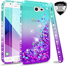Samsung Galaxy J3 Prime/ J3 2017/ J3 Eclipse/ J3 Emerge/J3 Mission/J3 Luna Pro/Express Prime 2/Amp Prime 2 Glitter Case w/Tempered Glass Screen Protector, LeYi Liquid Case (Not fit J3 2018)Teal/Purple