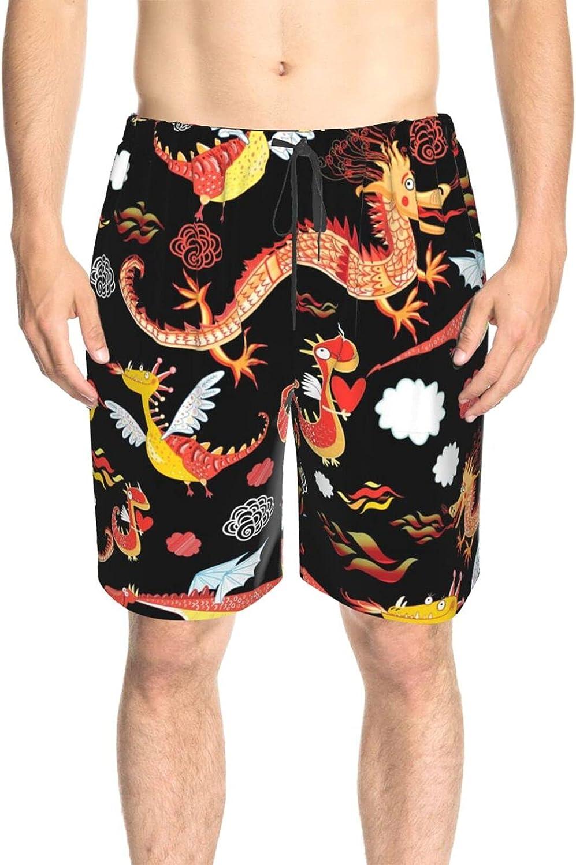Men's Swim Shorts Flying Dinosaur Dragon Swim Boardshorts Drawstring Elastic Board Shorts Swimwear with Pockets