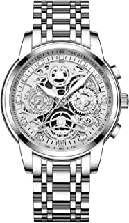 Men's Watches with Mechanical Appearance Stainless Steel and Metal Casual Waterproof Chronograph...
