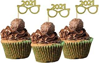 New Years Graduation Anniversary 2021 Cupcake Topper glitter cardstock Color Gold 12 Pack Decoration