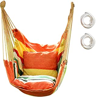 Hammock Chair Hanging Rope Swing, Max 300 Lbs Hanging Chair with Pocket- Quality Cotton Weave for Superior Comfort & Durability Perfect for Outdoor, Home, Bedroom, Patio, Yard (Orange)