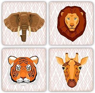Animales Salvajes León, Elefante, Tigre, jirafa piedra bebida juego de posavasos de–4piezas–diseño de selva