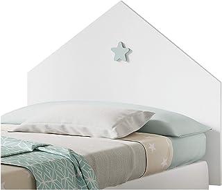Muebles Pitarch Sweet Cabecero, Aglomerado de partículas y melanina de Alta Densidad, Blanco Atlas/Estrella Gris, 80 x 100 x 1.6 cm