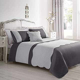 ARTALL 4-Piece Embossed Duvet Cover Set Geometric Lattice Pattern, Luxury Comforter Cover Set(1 Duvet Cover, 1 Pillowcase, 1 Cushion Cover, 1 Bed Runner), Gray, Twin Size