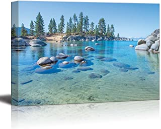 "wall26 Canvas Prints Wall Art - Beautiful Blue Clear Water on The Shore of The Lake Tahoe | Modern Wall Decor/Home Decoration Stretched Gallery Canvas Wrap Giclee Print. Ready to Hang - 32"" x 48"""