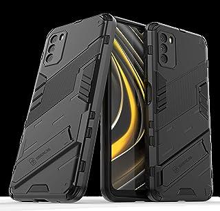 ウルトラスリムケース キックスタンドPC&TPU Xiaomi Poco M3ケース、頑丈な耐衝撃保護カバーの目に見えないブラケットの折り畳み式保護シェルカメラを保護する 電話裏表紙 (Color : Black)