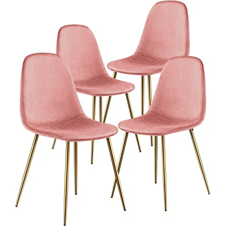 Kealive Dining Chair For Kitchen Dining Room Set Of 4 Mid Century Modern Side Chairs With Golden Metal Legs Velvet Fabric And Soft Upholstered Seat Pink Chairs