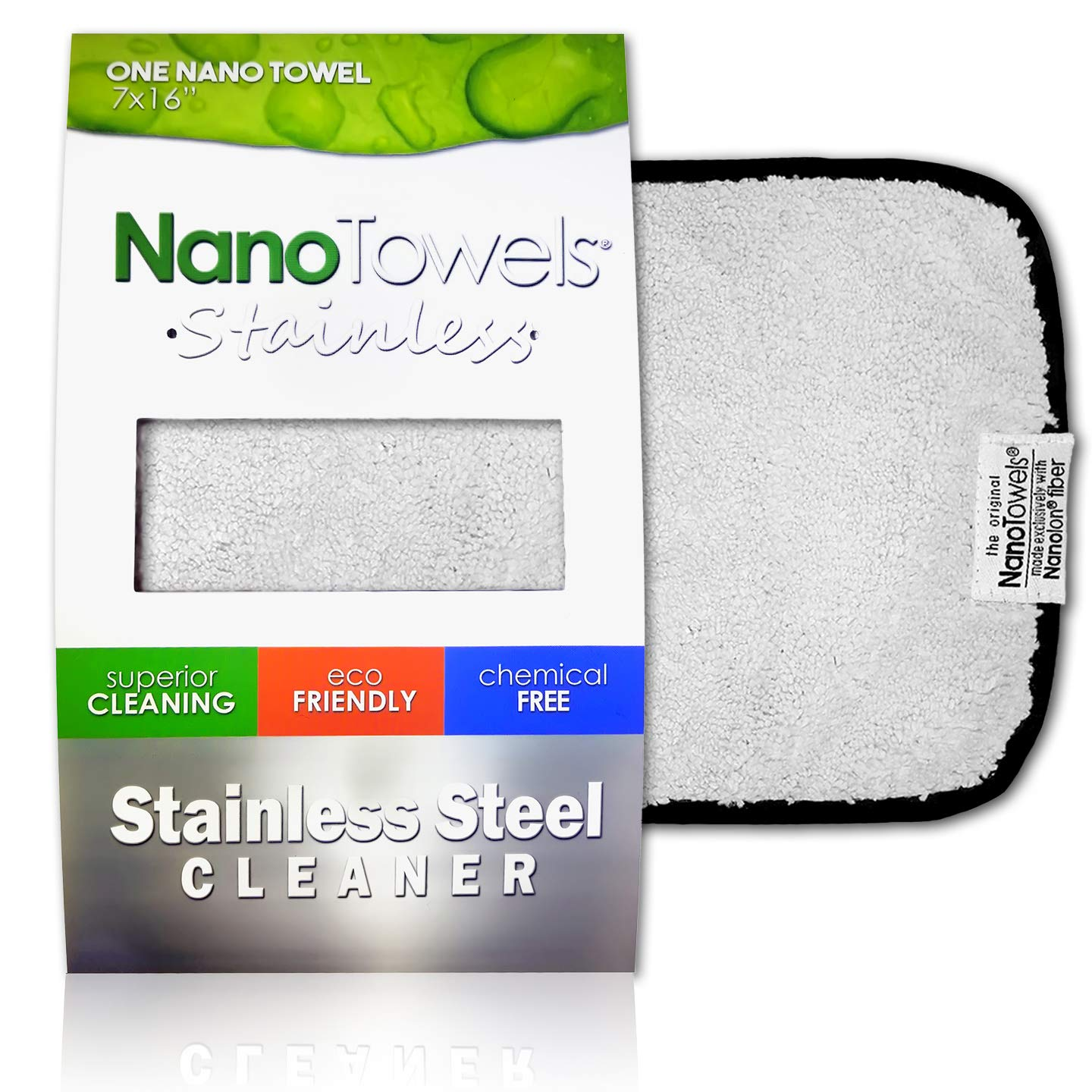 """Nano Towels Stainless Steel Cleaner   The Amazing Chemical Free Stainless Steel Cleaning Reusable Wipe Cloth   Kid & Pet Safe   7x16"""" (1 pc)"""