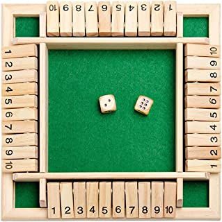 Shut The Box Dice Game - Classic 4 Sided Wooden Board Game with Dice and Instructions for Kids Adults, Christmas Tabletop ...