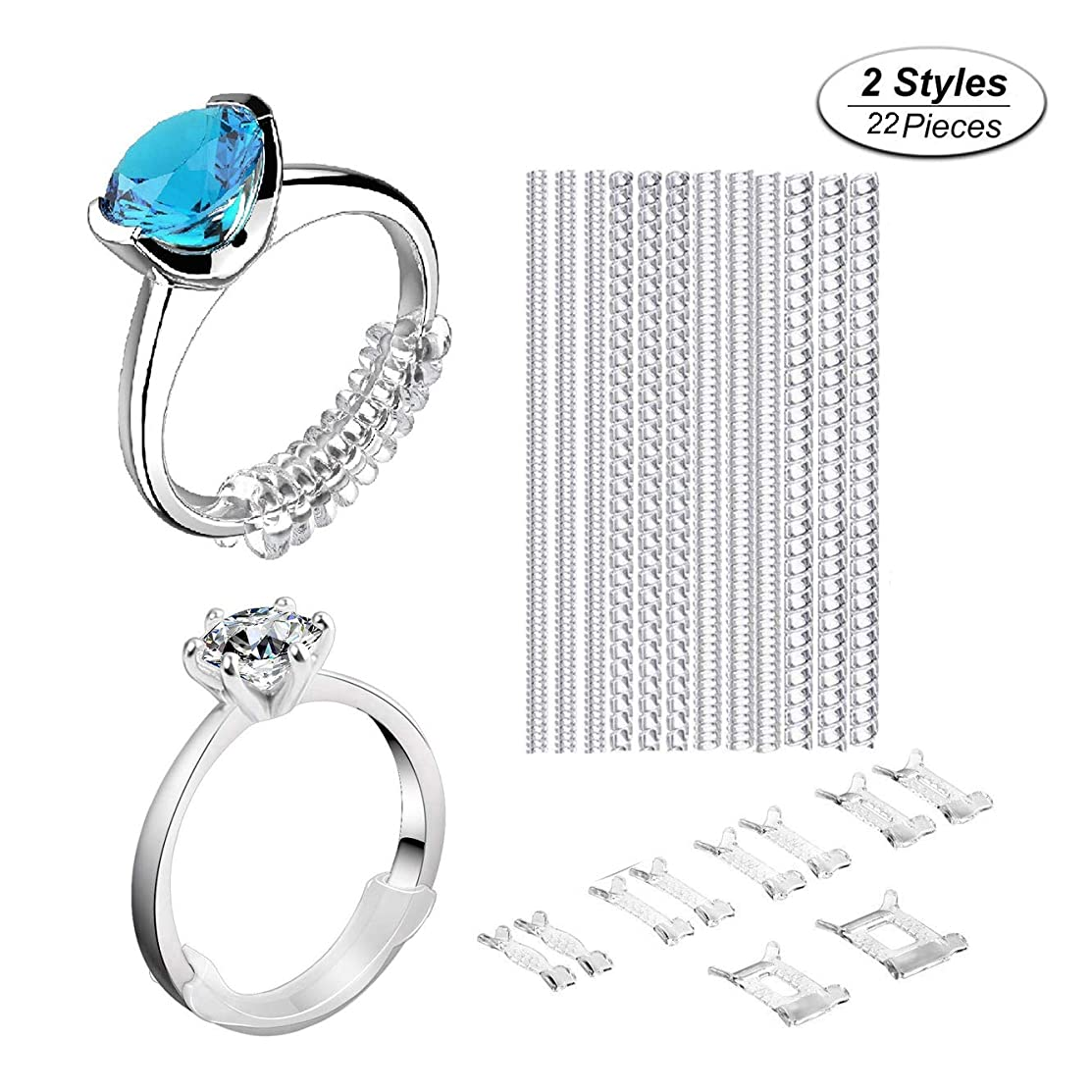 Fashionclubs Ring Size Adjuster for Loosing Rings Invisible Ring Guard Ring Size Reducer Spacer,10 Sizes of Ring Adjuster Sizer Resizer for Any Rings, 22 Pieces, 2 Styles