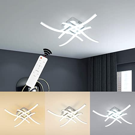 Wayrank Plafonnier Led Dimmable, Moderne Lampe de Lustre Led avec Fonction Mémoire et Télécommande pour Salon Chambre, 3000K-6000K, 4 Lumières