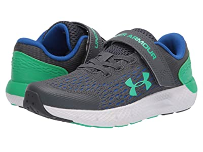 Under Armour Kids Charged Rogue 2 (Little Kid) (Pitch Gray/Versa Blue/Vapor Green) Boys Shoes