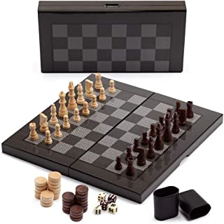 Deluxe 3-in-1 Wooden Folding Chess, Checker and Backgammon Board Game Combo Set (Carbon Fiber Tech)
