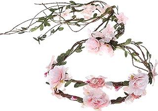 AWAYTR Boho Braut Blume Girlande Stirnband - Frauen Mädchen Einstellbare Baum Rattan Blatt Floral Haar Kranz Hochzeit Fotografie Dekoration, Pink - Spitze, Einheitsgröße