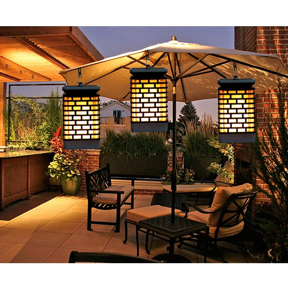 Uonlytech 2PCS LED Vela solar al aire libre Patio Patio Césped Luz Decoración Patio paraguas (negro): Amazon.es: Iluminación