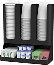 Mind Reader 6 Compartment Upright Breakroom Coffee Condiment and Cup Storage Organizer, Black