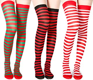 3 Pairs Thigh High Socks Striped Thigh Stockings for Halloween,Chritsmas,Ireland (Style 4)