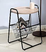 طاولة جانبية، طاولة جانبية مستديرة حديثة، منضدة أرضية مع سلة تخزين معدنية، أثاث بمظهر خشبي لغرفة النوم وغرفة المعيشة