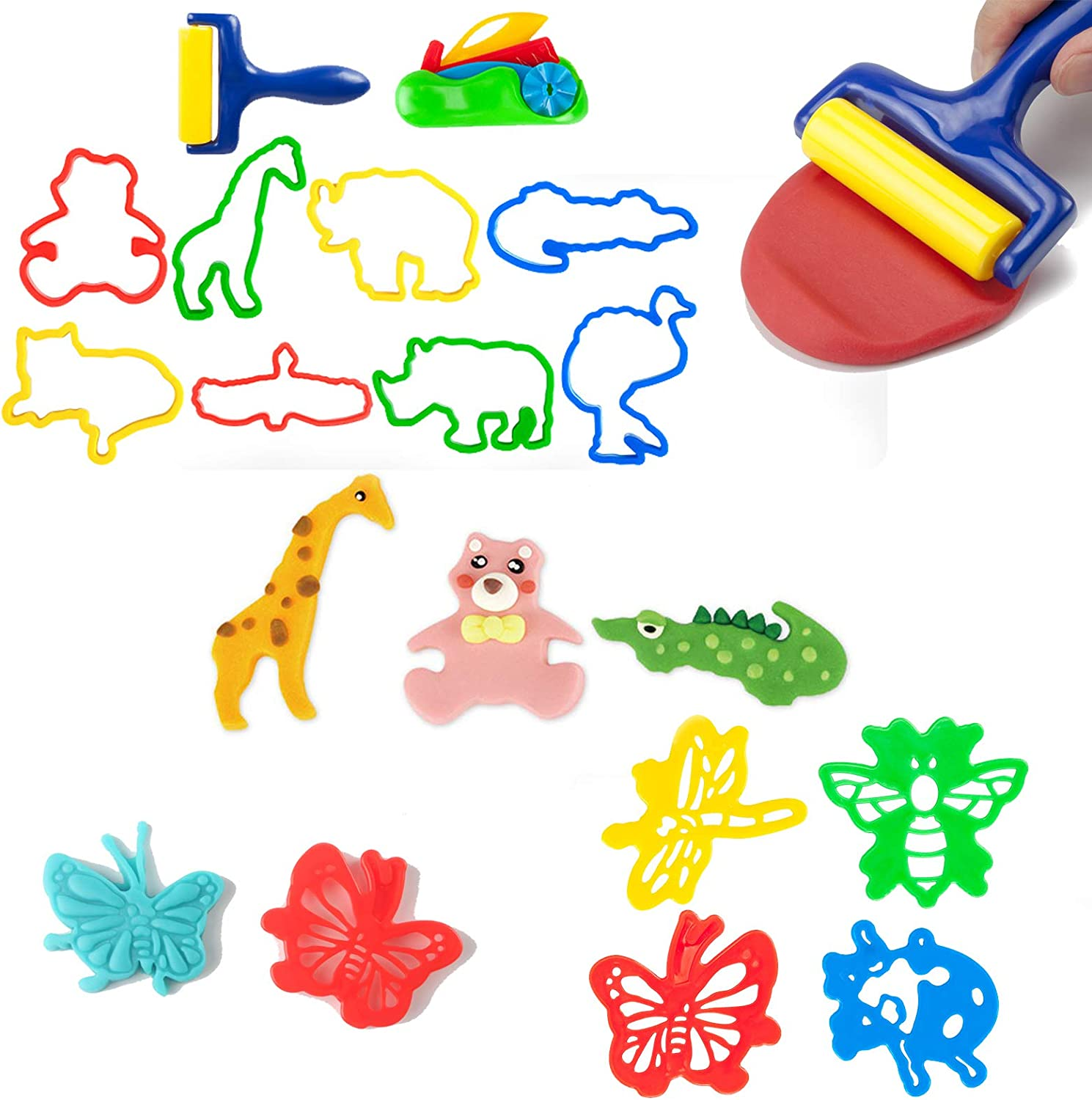 77 PCS Clay Dough Tools Kit for Kid Various Plastic Animal Molds and Numbers Tool Playset Includes Molds /& Play Accessories for Creative Dough Cutting