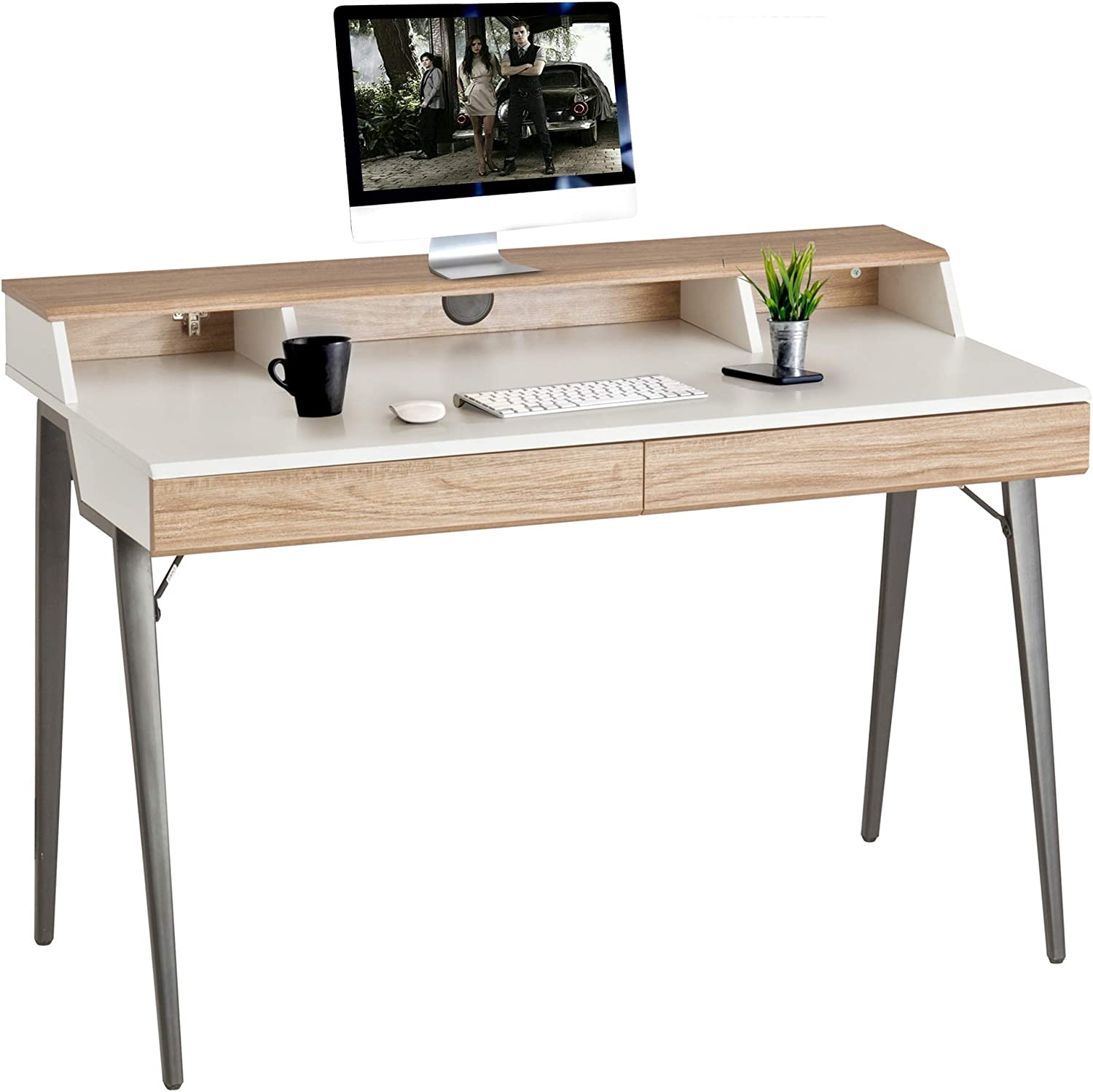 """Dporticus 47"""" Computer Desk Factory outlet specialty shop with Drawers W Storage Bookshelves"""
