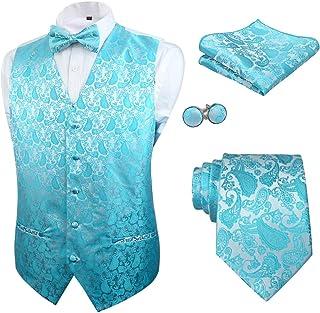 Alizeal Mens Classic 5 Pcs Paisley Jacquard Waistcoat Suit Vest Set