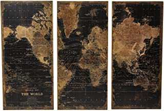 Aspire Stanford World Map Wall Decor (Set of 3), Black/Brown
