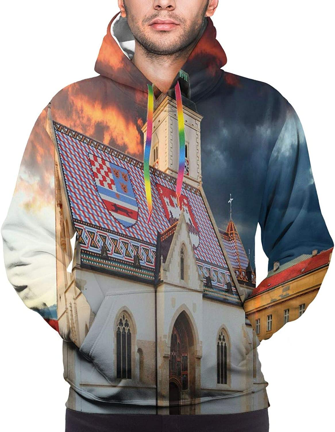 Men's Hoodies Sweatshirts,Photo of Ancient Ancient Building in Zagreb at Sunset with Amazing Dramatic Sky