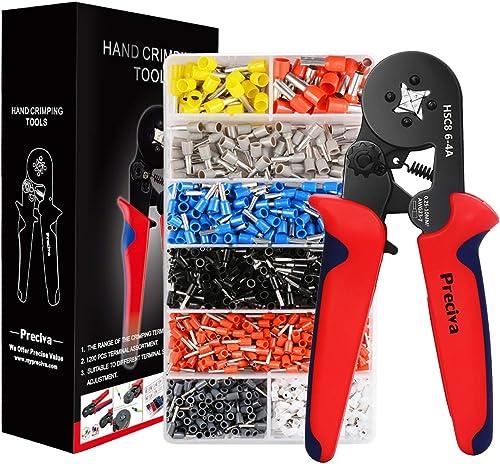 Ferrule Crimping Tool Kit, Preciva AWG23-7 Self-adjustable Ratchet Wire Crimping Tool Kit Crimper Plier Set with 1200...