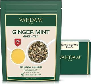 VAHDAM, Ginger + Mint Green Tea Loose Leaf (100 Cups)   RICH ANTIOXIDANTS   Blend Of Ginger Tea & Mint Tea   Pure Green Te...