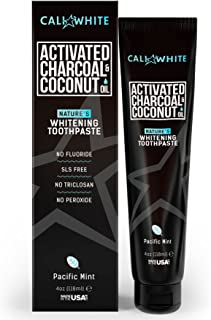 Cali White ACTIVATED CHARCOAL & ORGANIC COCONUT OIL TEETH WHITENING TOOTHPASTE, MADE IN USA, Best Natural Whitener, Vegan, Fluoride Free, Sulfate Free, Organic, Black Tooth Paste, Kids MINT (4oz)