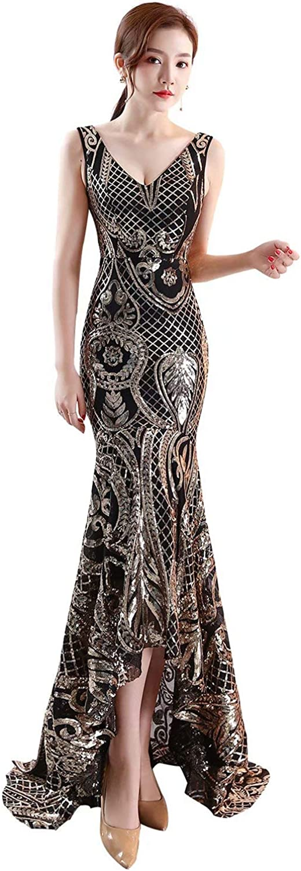 Honeywedding Women's Mermaid Long Prom Dresses Sequin Straps Formal Evening Dresses