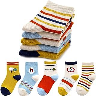 RiyaNed, Calcetines cálidos para niños, multicolor, estampados, para niñas, calcetines de punto de algodón, bonitos dibujos animados, calcetines para correr, antideslizantes, sin costuras, 5 pares