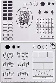 Noverlife 2PCS Nail Art Design Practice Mat, Silicone Nail Stamping Plates, Nail Polish Coloring Manicure Mat, Nail Sticker Guide Printing Transfer Palette Nail Mats, Workspace Table Cover Pad
