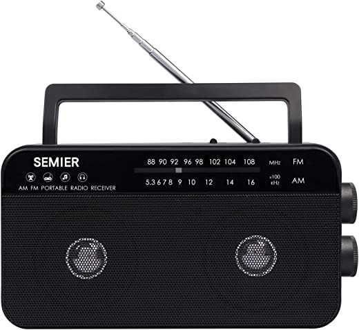 SEMIER AM FM Portable Radio, Battery Operated Analog Radio by 3X D Cell Batteries Or AC Power Transistor Radio with Double Big Speaker, Standard Earphone Jack, Bass Tone Mode and Large Knob